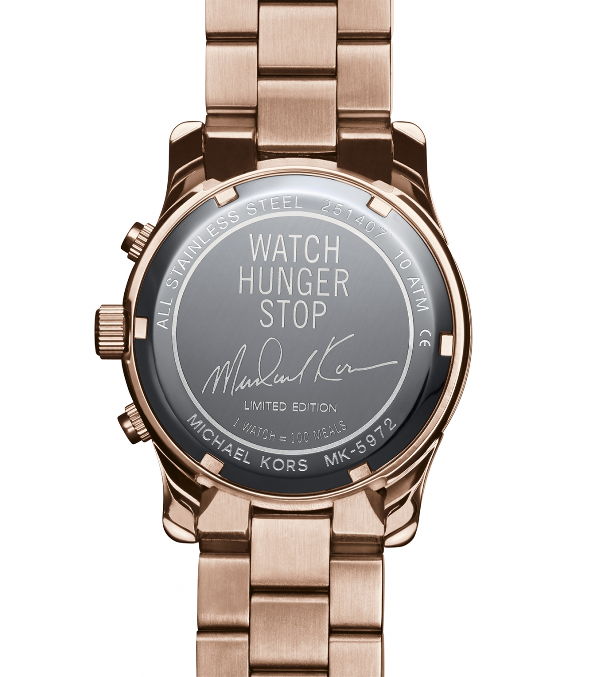 4e78fea7850a The engraved back of the Michael Kors 100 series limited edition watch.