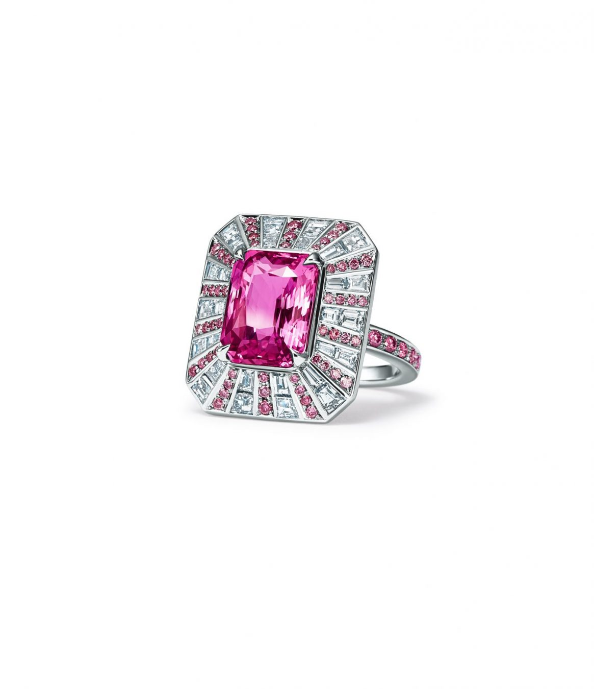 1bf634d39b4a Ring in platinum with a 6.05-carat emerald- cut pink sapphire