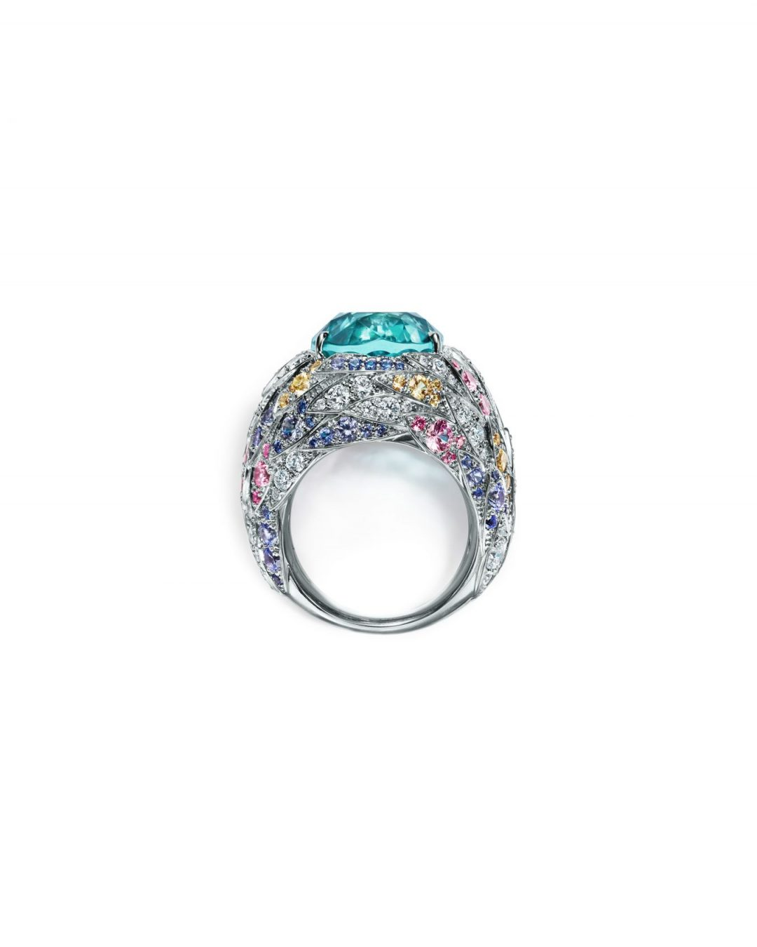 57e767e0fce5 Ring in platinum with blue cuprian elbaite tourmaline