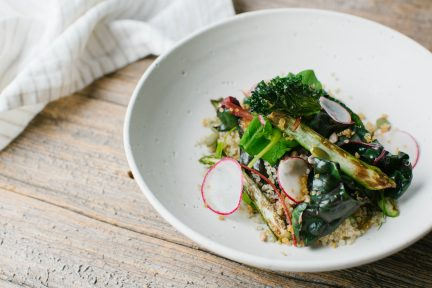 The Dirty Apron's Quinoa, Asparagus, Swiss Chard, and Sorrel Buddha Bowl