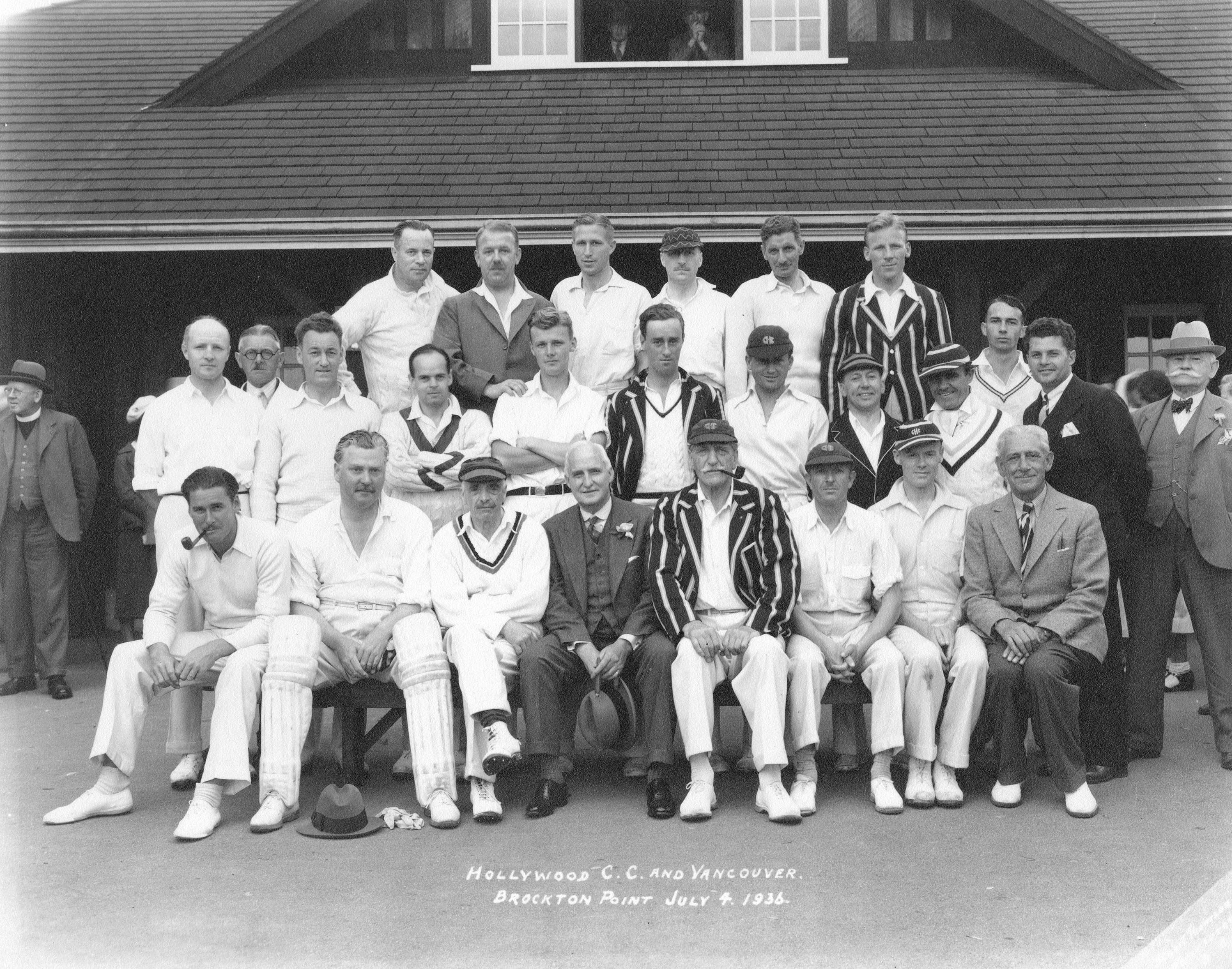 Hollywood C.C. and Vancouver [at] Brockton Point. Group portrait showing Errol Flynn (seated in front row far left).