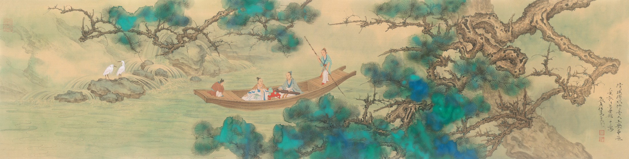 """""""Boating in a Limpid Stream."""" Painting by Ren Zhong"""