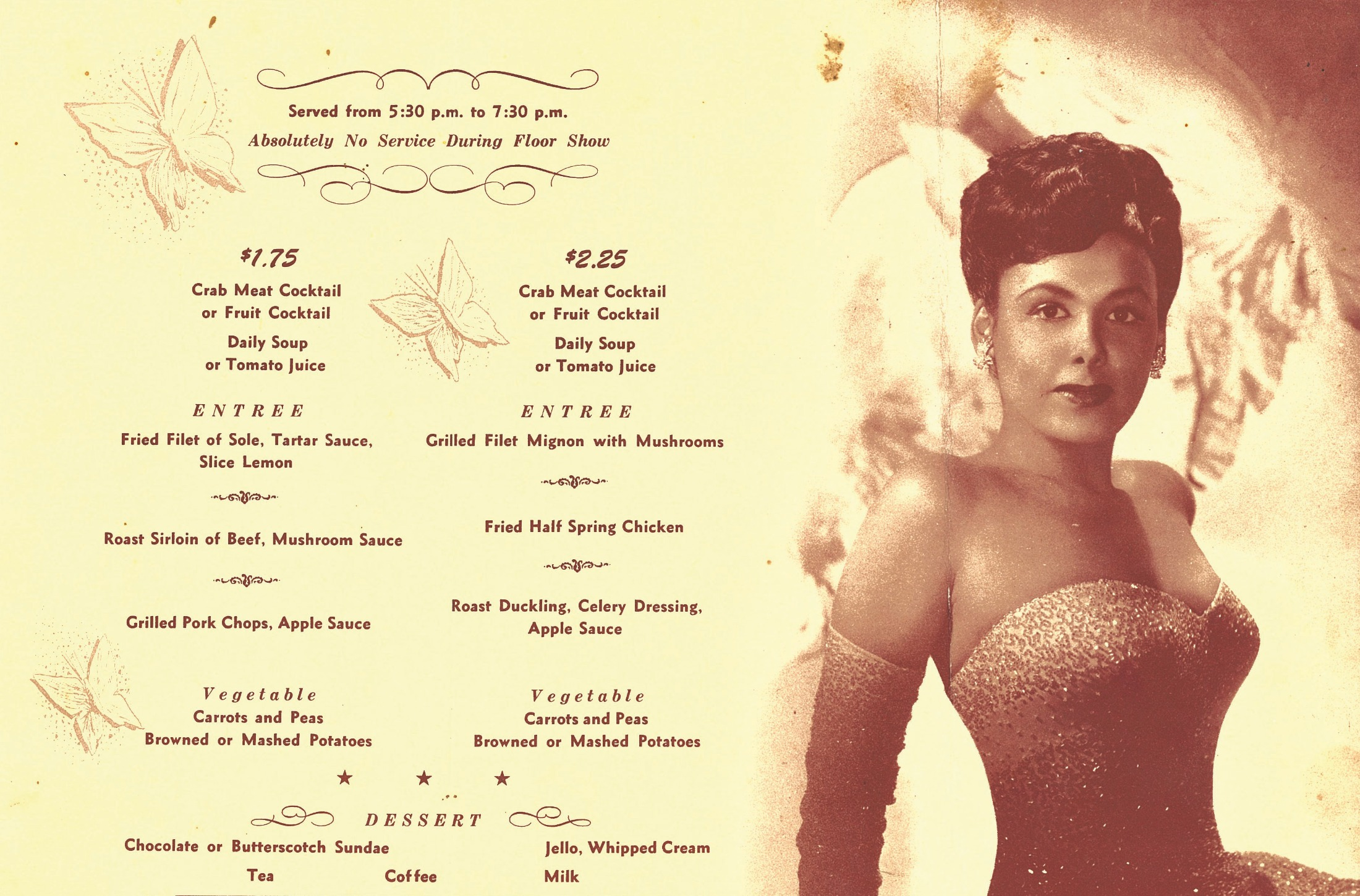 The Cave menu featuring singer Lena Horne. Photo courtesy of Neptoon Records Archives.