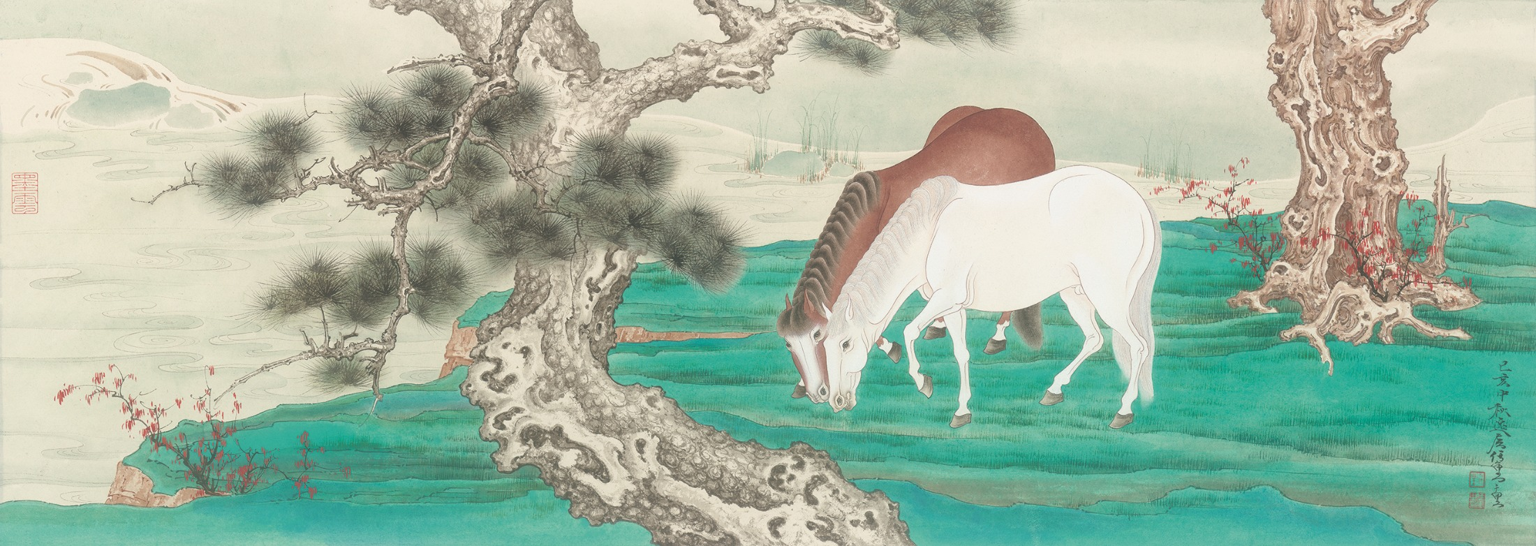 """""""Horses Along the Pine River."""" Painting by Ren Zhong."""
