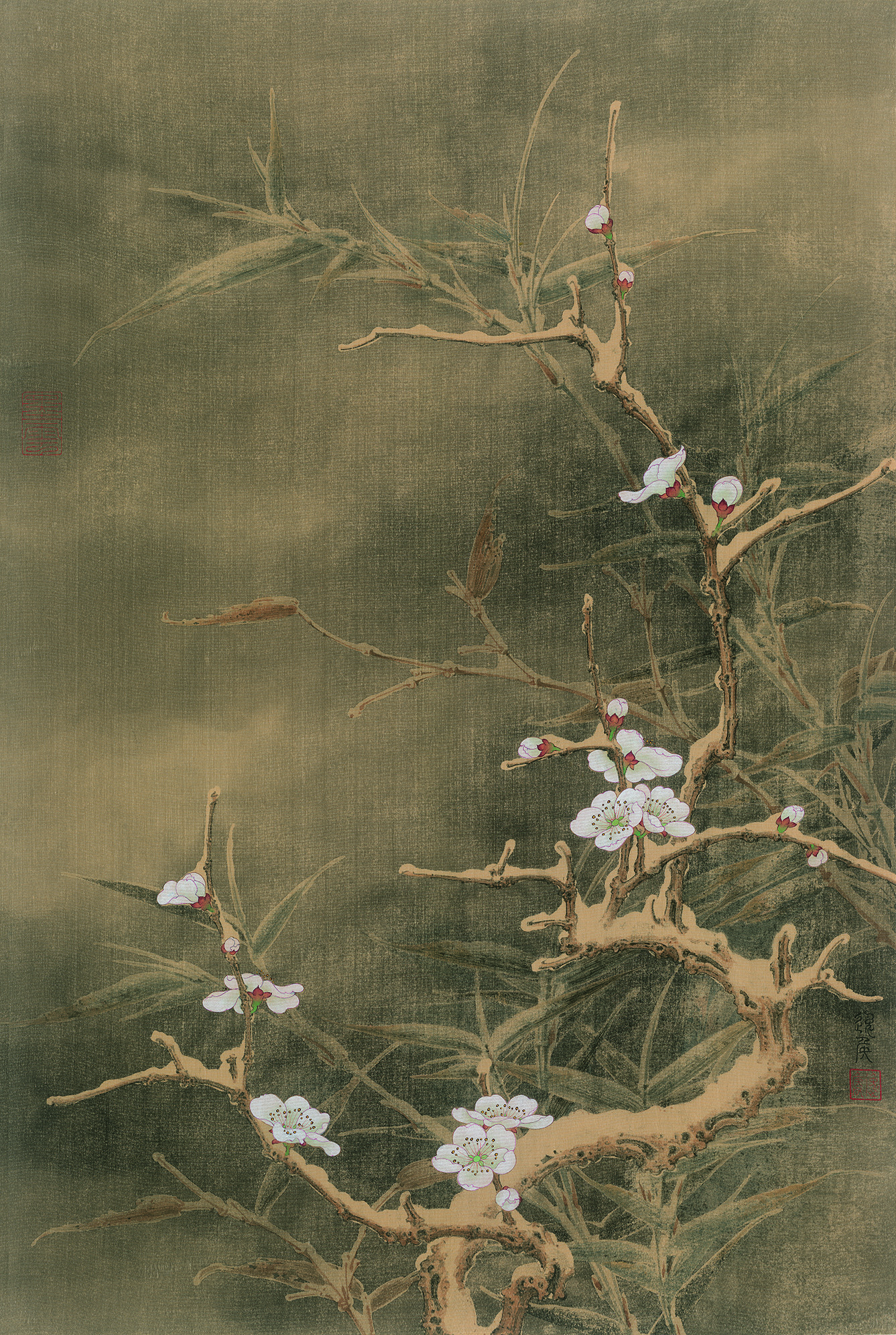 """""""Plum Blossom and Bamboo."""" Painting by Ren Zhong."""