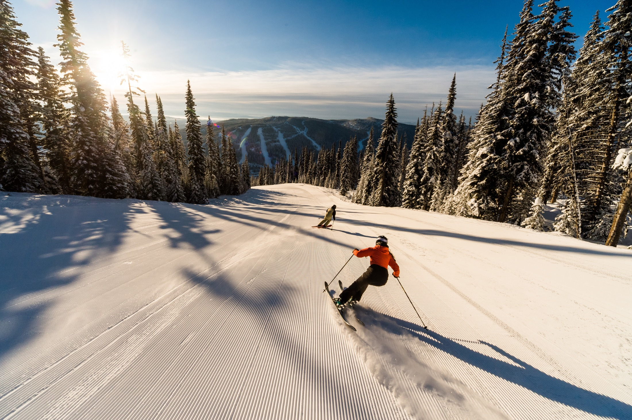 A Sun Peaks ski run by day. Photo by Reuben Krabbe/Tourism Sun Peaks.